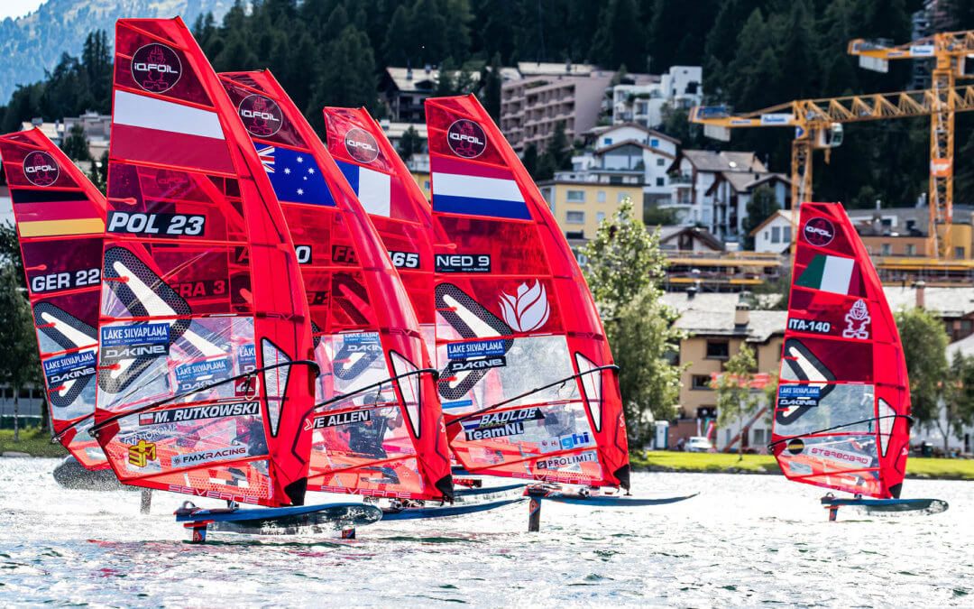 A successful first-day inaugural iQFOiL race. Course and slalom racing completed in St. Moritz